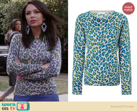 Equipment Shane Leopard Spot Cashmere Sweater worn by Janel Parrish on PLL