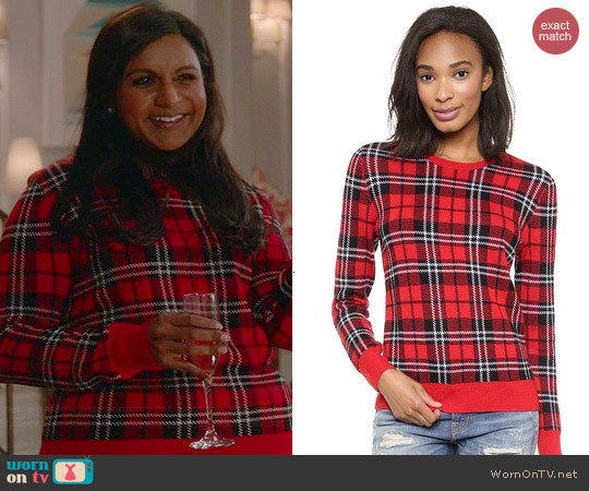 Equipment Shane Sweater in Strawberry Plaid worn by Mindy Kaling on The Mindy Project