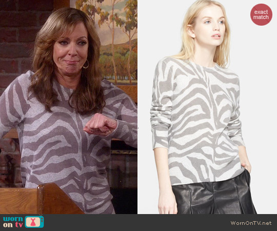 Equipment Shane Zebra Sweater worn by Allison Janney on Mom