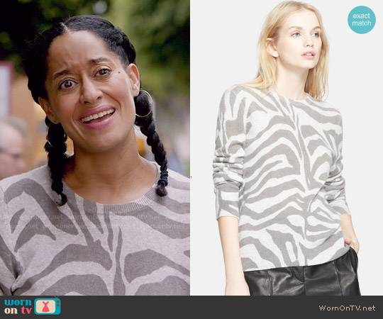 Equipment Shane Zebra Sweater worn by Tracee Ellis Ross on Blackish
