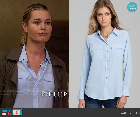 Equipment Signature Blouse in Periwinkle Blue worn by Rebecca Romijn on The Librarians