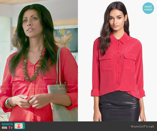 Equipment Signature Silk Shirt in Red worn by Reshma Shetty on Royal Pains