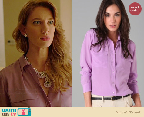 Equipment Signature Blouse in Violet worn by Yael Grobglas on Jane the Virgin