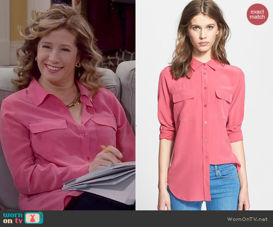 Equipment Signature Blouse in Pink worn by Nancy Travis on Last Man Standing