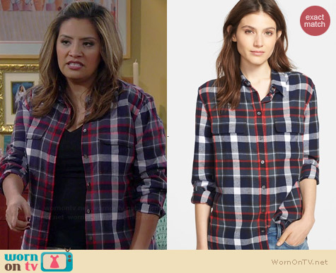 Equipment Signature Cotton Blouse in Peacoat Multi worn by Cristela Alonzo on Cristela