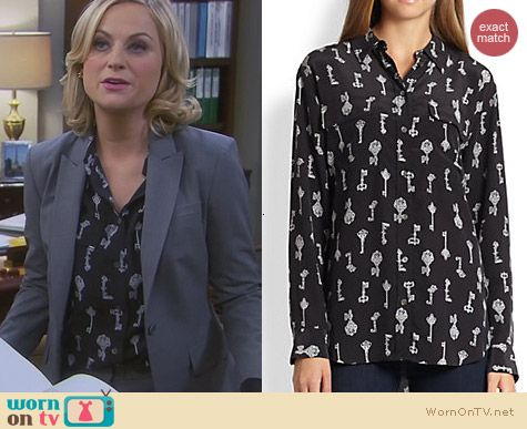 Equipment Signature Key Print Shirt worn by Amy Poehler on Parks and Recreation