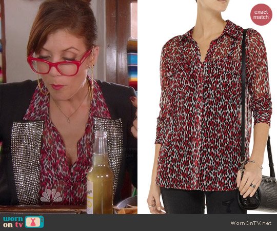 Equipment Signature Leopard Blouse worn by Kate Walsh on Bad Judge