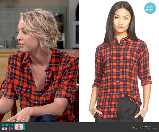 Equipment 'Slim Signature' Plaid Silk Shirt worn by Kaley Cuoco on The Big Bang Theory