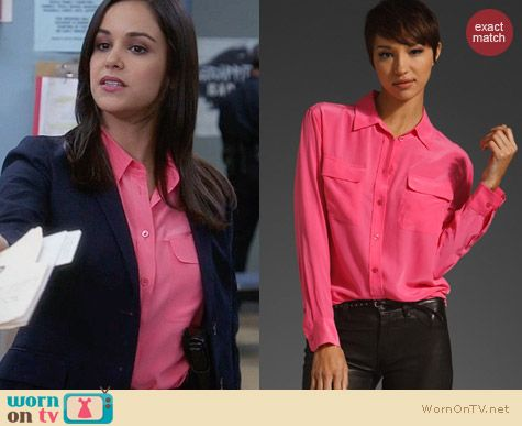 Equipment Signature Shirt in Hot Pink worn by Santiago on Brooklyn 99