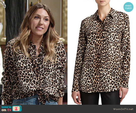 Equipment Signature Leopard-Print Slim Blouse worn by Elizabeth Hendrickson on The Young & the Restless
