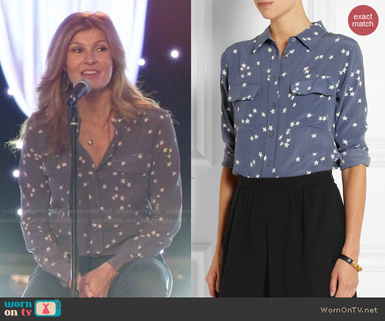 Equipment Slim Signature printed washed-silk shirt worn by Connie Britton on Nashville