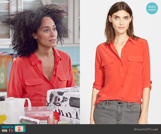 Equipment Slim Signature Silk Shirt in Cherry Red worn by Tracee Ellis Ross on Blackish