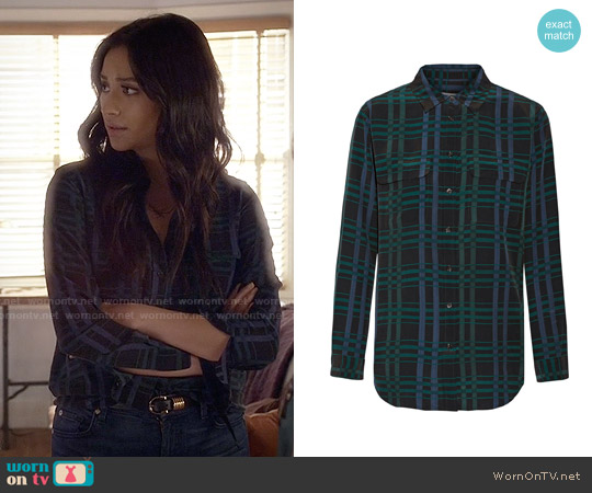 Equipment Signature Blouse in Ink worn by Shay Mitchell on PLL