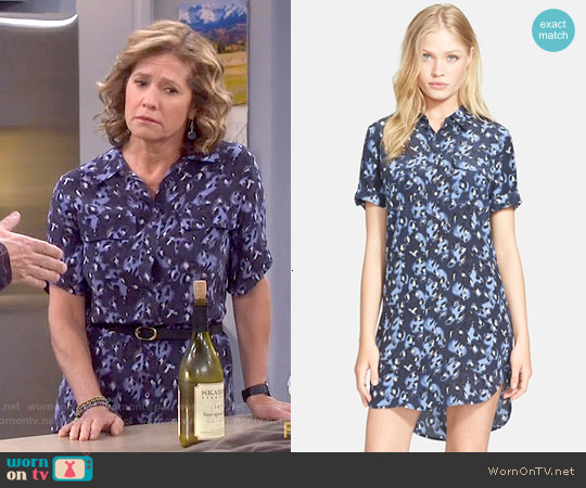 Equipment 'Slim Signature' Shirtdress in Peacoat Multi worn by Nancy Travis on Last Man Standing
