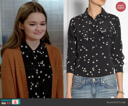 Equipment Slim Signature Star Print Shirt worn by Ciara Bravo on Red Band Society