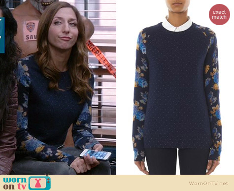 Equipment Sloan Polka-dot and Floral Sweater worn by Chelsea Peretti on Brooklyn 99