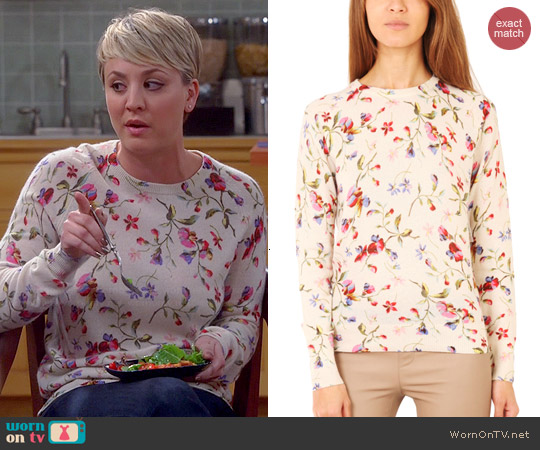 Equipment Sloan Floral Cashmere Sweater worn by Kaley Cuoco on The Big Bang Theory