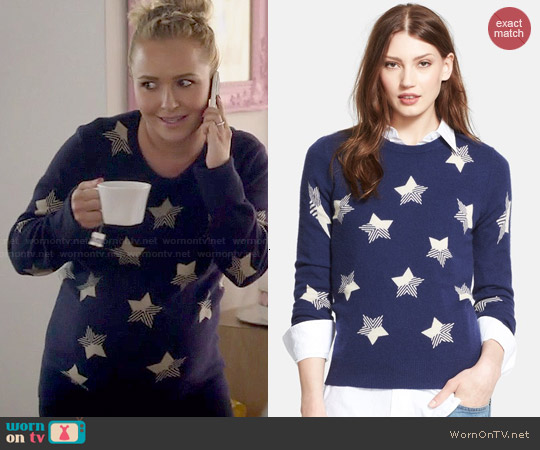Equipment 'Sloan' Star Pattern Cashmere Sweater in Peacoat worn by Hayden Panettiere on Nashville