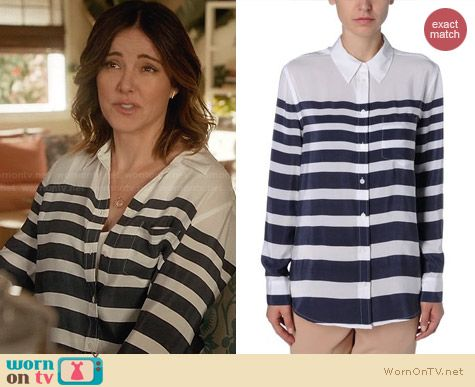 Equipment Stripe Shirt worn by Christa Miller on Cougar