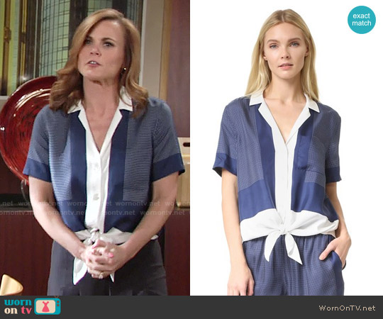 Equipment Short Sleeve Terra Tie Front Blouse worn by Gina Tognoni on The Young & the Restless
