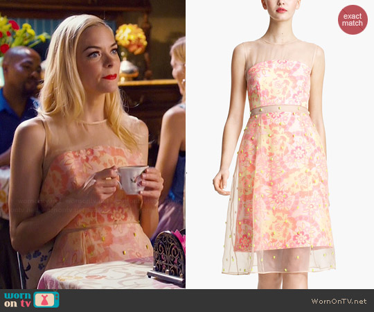 Erdem Damask Jacquard & Beaded Organza Dress worn by Jaime King on Hart of Dixie