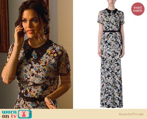 Erdem Floral Lace Collar Silk Dress worn by Rachel Bilson on Hart of Dixie