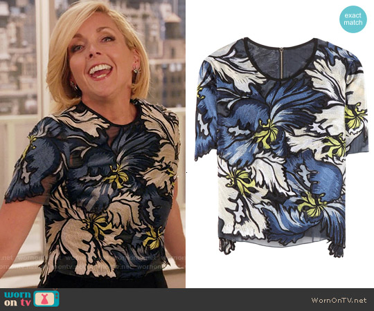 Erdem Emiko Embroidered Top worn by Jane Krakowski on Unbreakable Kimmy Schmidt