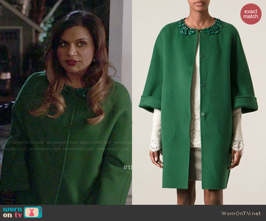Ermanno Scervino Embellished Neck Coat worn by Mindy Kaling on The Mindy Project