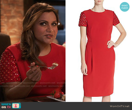 Escada Beaded Sheath Dress worn by Mindy Kaling on The Mindy Project