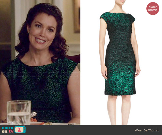 Escada Cap-Sleeve Metallic Sheath Dress worn by Bellamy Young on Scandal