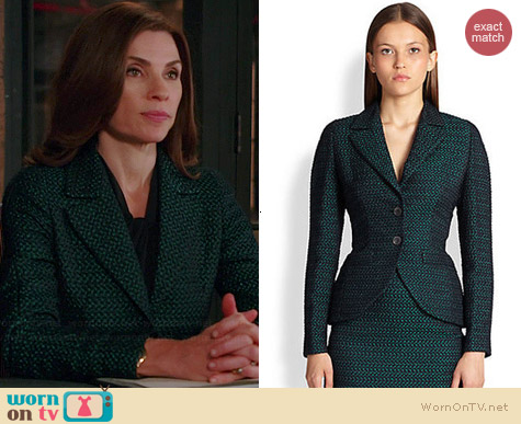 Escada Checkerboard Jacquard Jacket worn by Julianna Margulies on The Good Wife