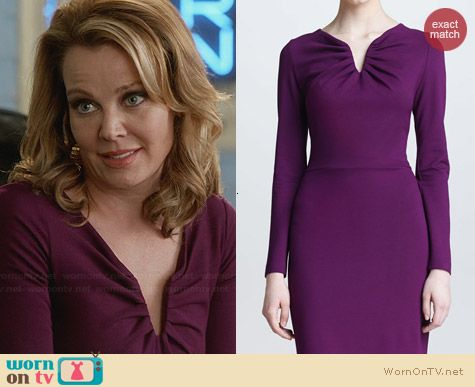 Escada Donde Dress in Amethyst worn by Gail O'Grady on Revenge