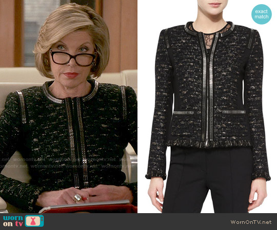 Escada Dondi Zip-Chain Jacket worn by Christine Baranski on The Good Wife
