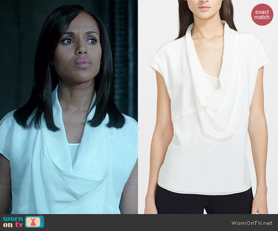 Escada Draped Silk Tee worn by Kerry Washington on Scandal
