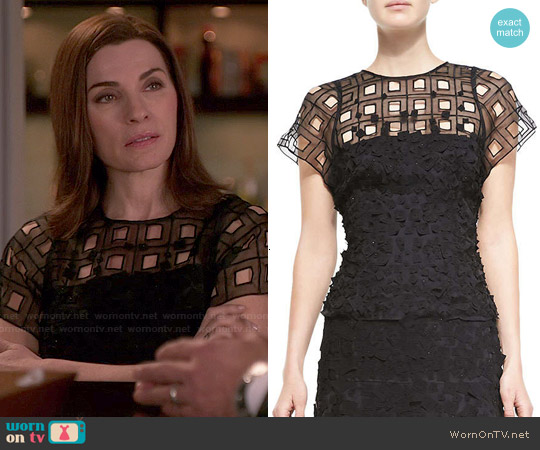Escadsa Short Sleeve Lace Eyelet Shirt worn by Julianna Margulies on The Good Wife