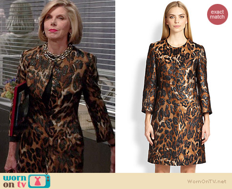Escada Leopard Jacquard Coat worn by Christine Baranski on The Good Wife