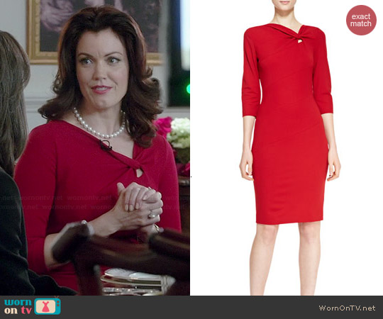 Escada Off-Center Twist Keyhole Dress worn by Bellamy Young on Scandal