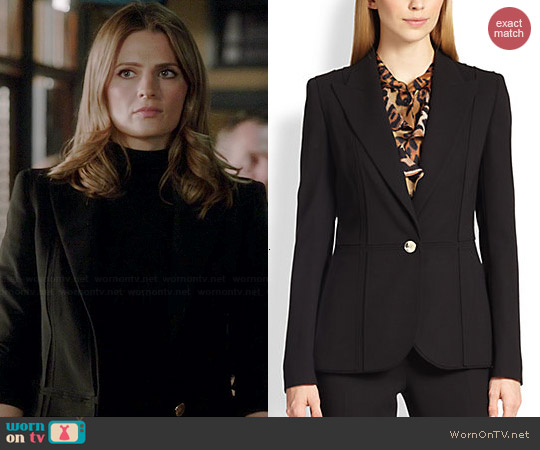 Escada Paneled One Button Wool Jacket worn by Stana Katic on Castle