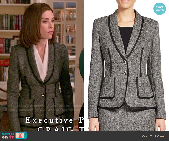 Escada Piped Tweed Jacket worn by Julianna Margulies on The Good Wife