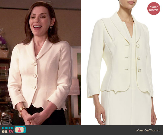 Escada Scalloped-Hem Topper Jacket worn by Julianna Margulies on The Good Wife