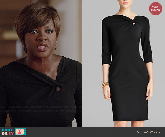 Escada Scuba Knot Detail Dress worn by Viola Davis on HTGAWM