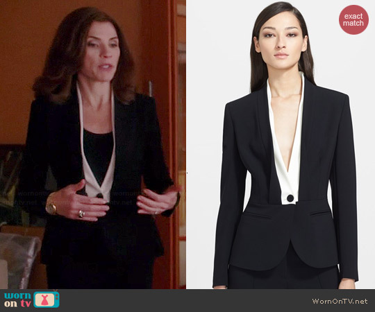 Escada Shawl Collar Tuxedo Jacket worn by Julianna Margulies on The Good Wife