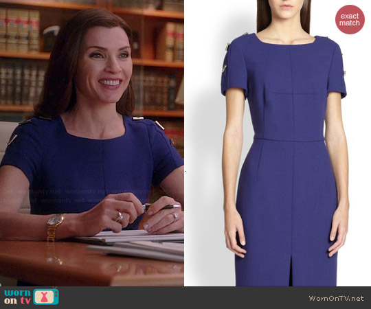 Escada Toggle-Detail Wool Sheath Dress worn by Julianna Margulies on The Good Wife