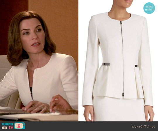 Escada Wool Zip-Front Peplum Jacket worn by Julianna Margulies on The Good Wife
