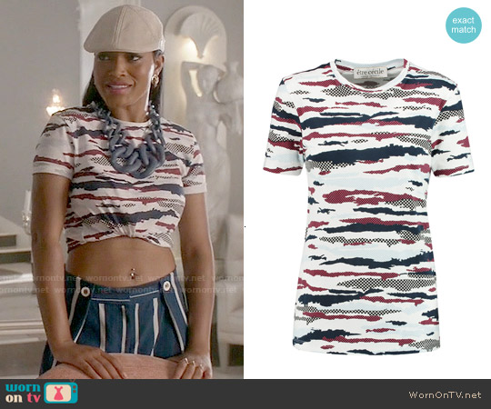 Etre Cecile Camo Printed T-shirt worn by Keke Palmer on Scream Queens