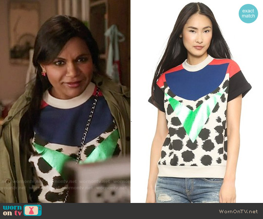 Etre Cecile Cheetah Insignia Short Sleeve Sweatshirt worn by Mindy Kaling on The Mindy Project