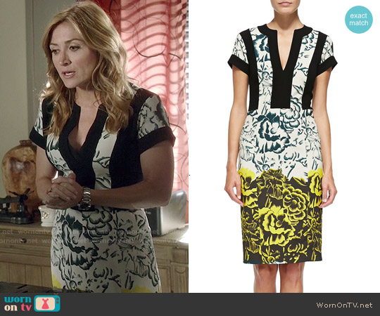 Etro Deep Floral Sheath Dress worn by Sasha Alexander on Rizzoli & Isles
