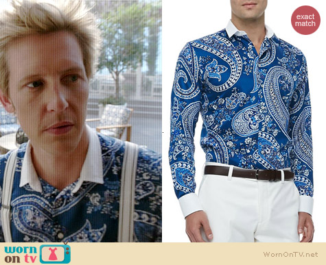 Etro Banker's Collar Paisley Shirt worn by Gabrielle Mann on Revenge