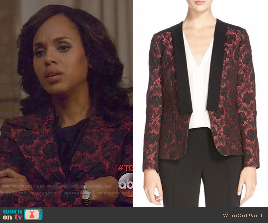 Etro Floral Jacquard Coat worn by Kerry Washington on Scandal