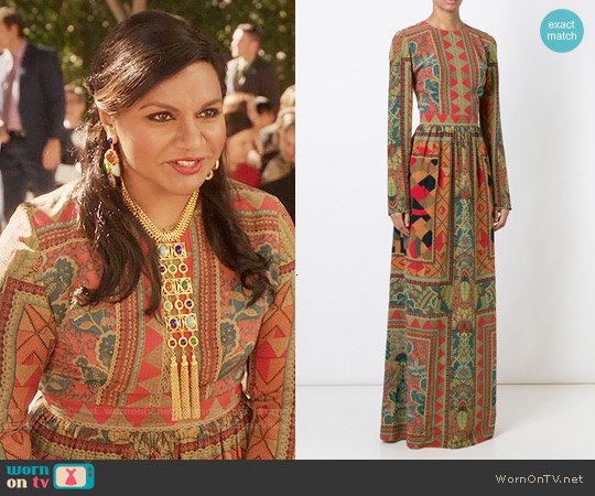 Etro Long Mixed Print Dress worn by Mindy Kaling on The Mindy Project